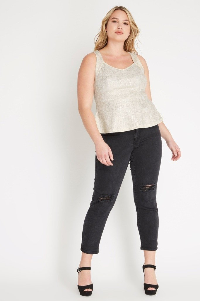 Poshsquare Plus Metallic Foil Peplum Top Plus Size