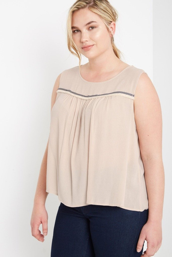Poshsquare Plus 1XL / Taupe Morgan Peasant Top Plus Size