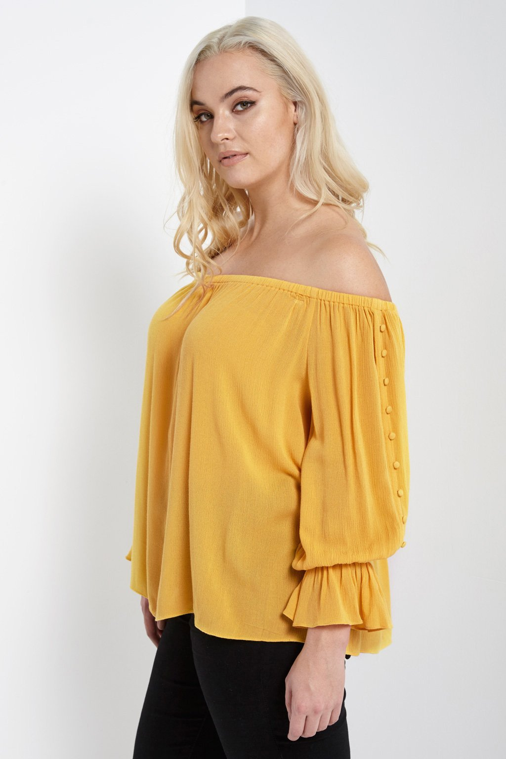 Poshsquare Plus Off The Shoulder Button Sleeve Top Plus Size