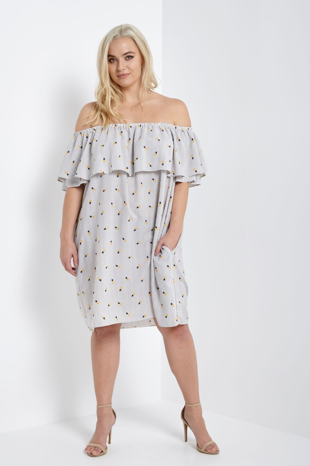 Poshsquare Plus Off The Shoulder Picnic Dress Plus Size