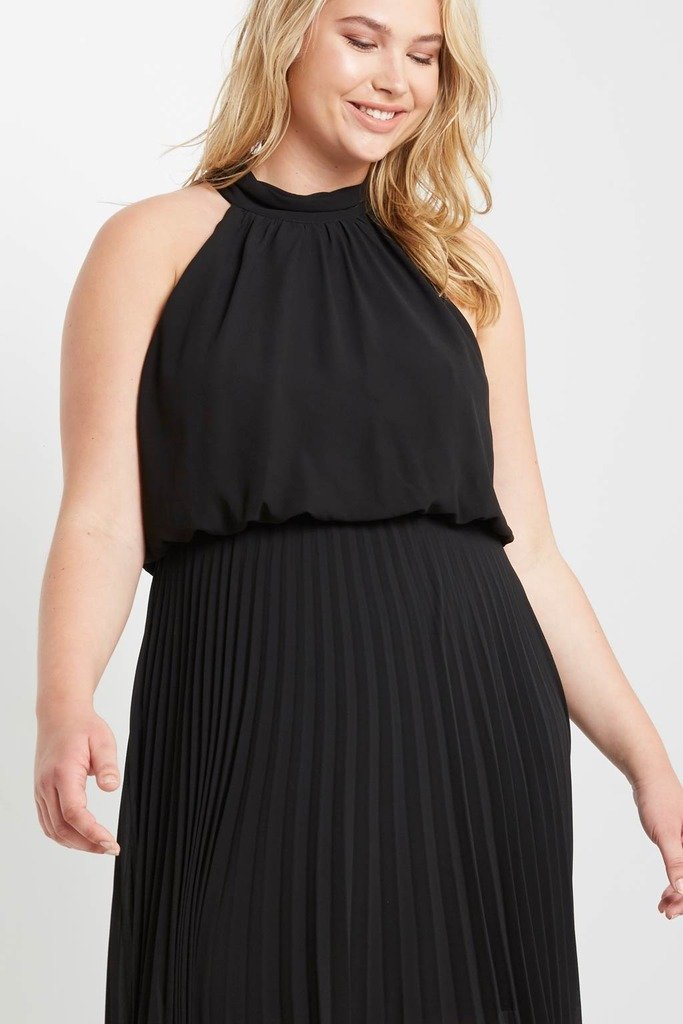 Poshsquare Plus One Last Night Pleated Maxi Dress Plus Size