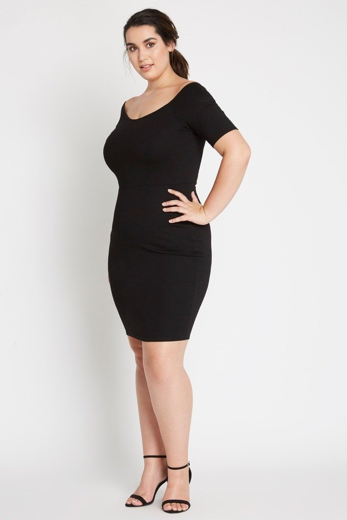 Poshsquare Plus Pave Boatneck Bodycon Dress Plus Size