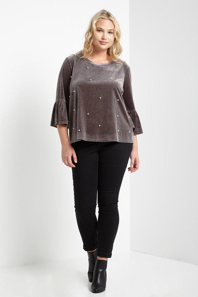 Poshsquare Plus Peal Beaded Velvet Top Plus Size