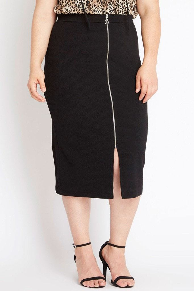 Poshsquare Plus Pencil Me In Midi Skirt Plus Size