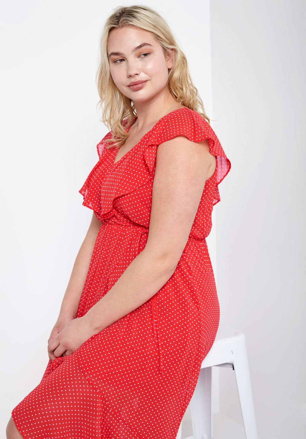 Poshsquare Plus Polka Dots Ruffle Wrap Dress Plus Size
