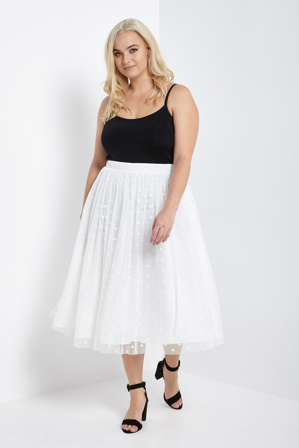 Poshsquare Plus Polkadot Tulle Midi Skirt Plus Size