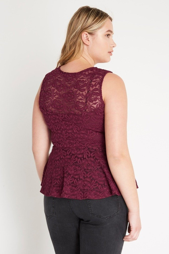Poshsquare Plus Reagan Peplum Lace Top Plus Size