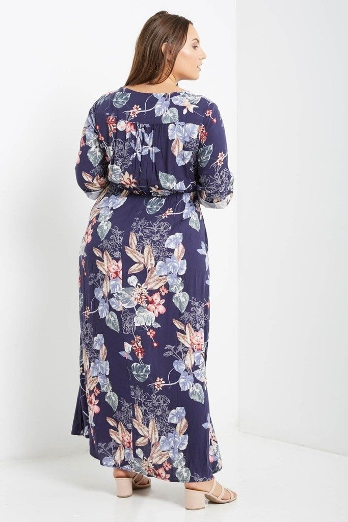 709df82be0965 Poshsquare Plus Sade Floral Button Down Maxi Dress Plus Size