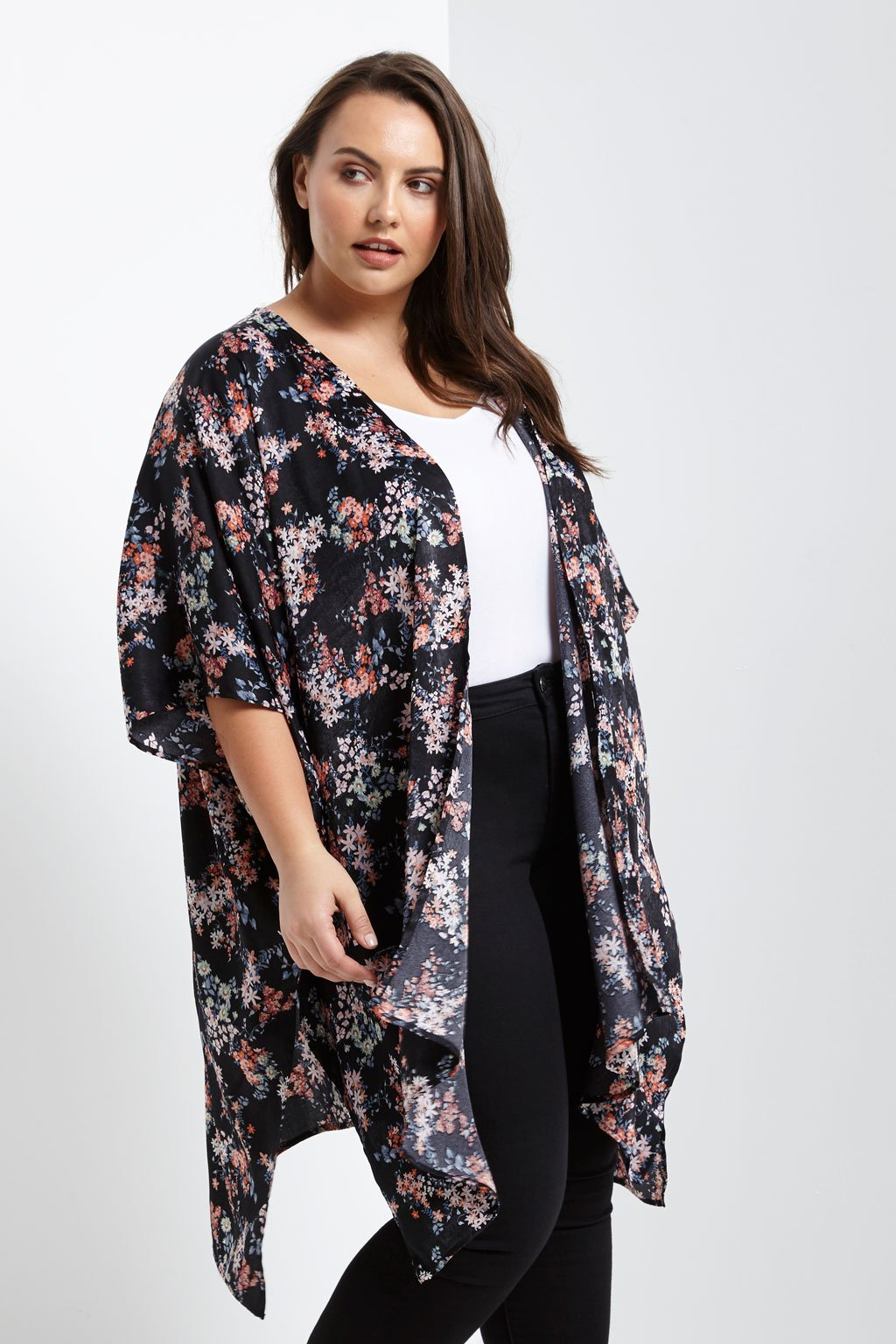 Poshsquare Plus 1XL / Black Satin Floral Kimono Jacket Plus Size