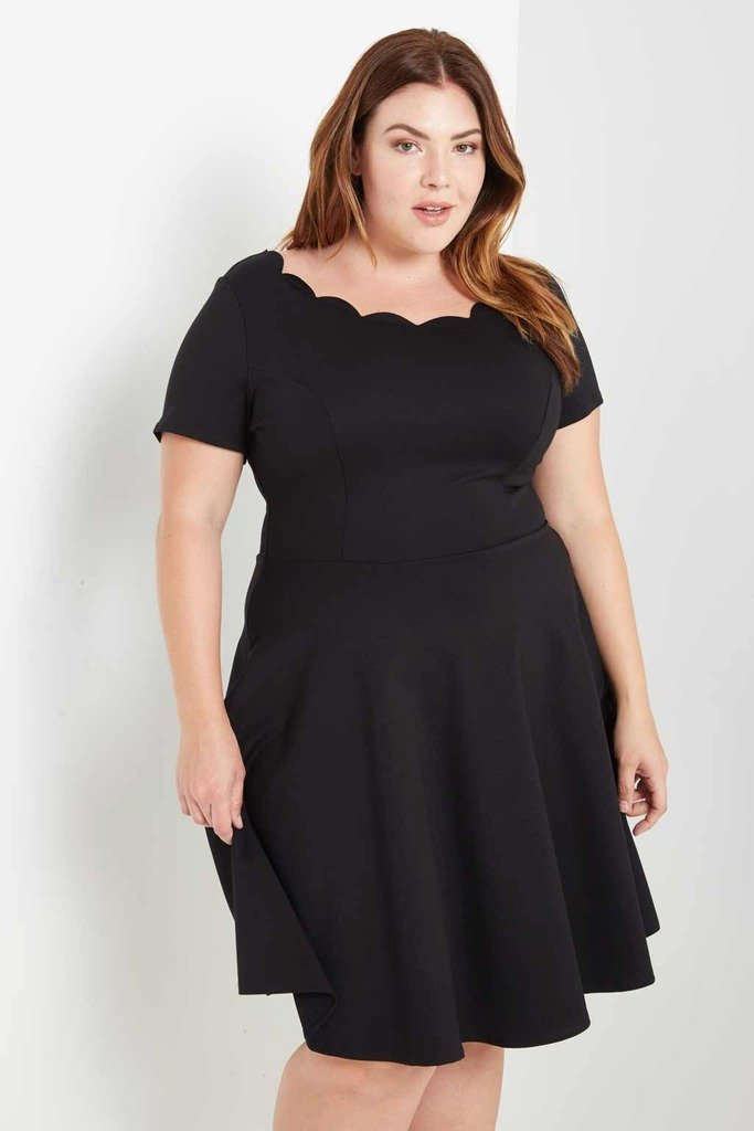 Scalloped Fit And Flare Dress Plus Size