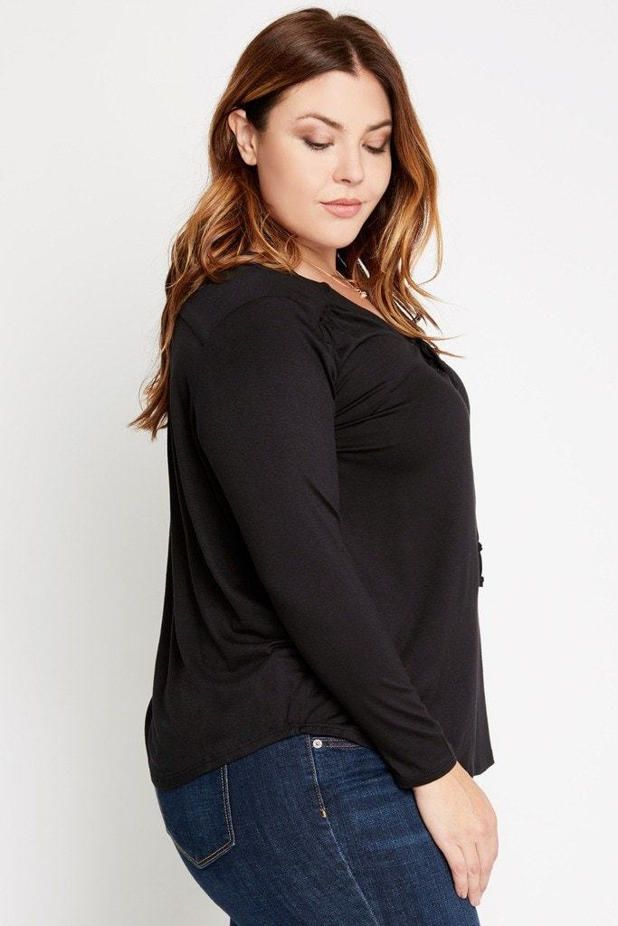 Poshsquare Plus Show Me Love Lace Up Top Plus Size