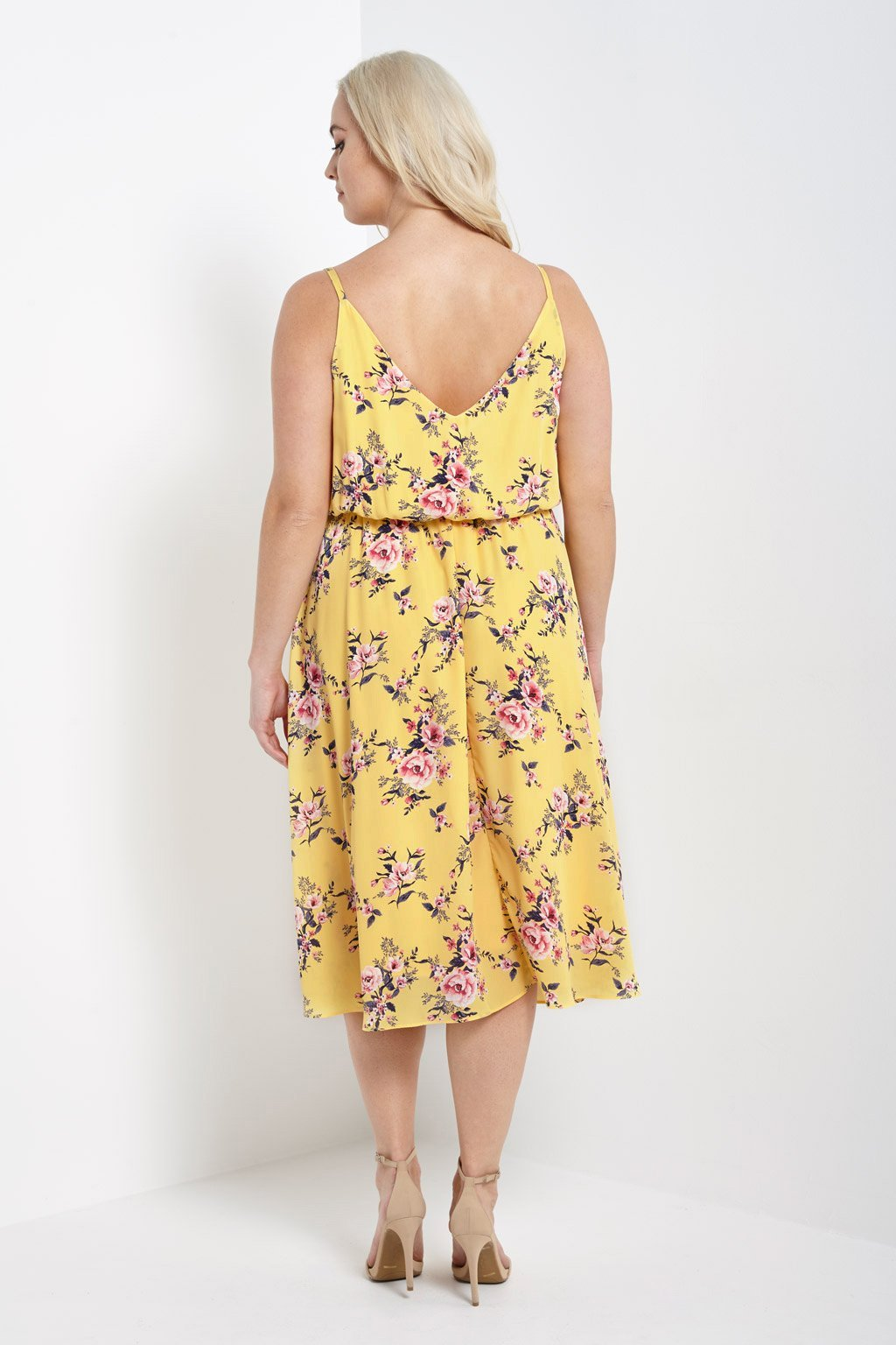 Poshsquare Plus Spring Blossoms Midi Dress Plus Size