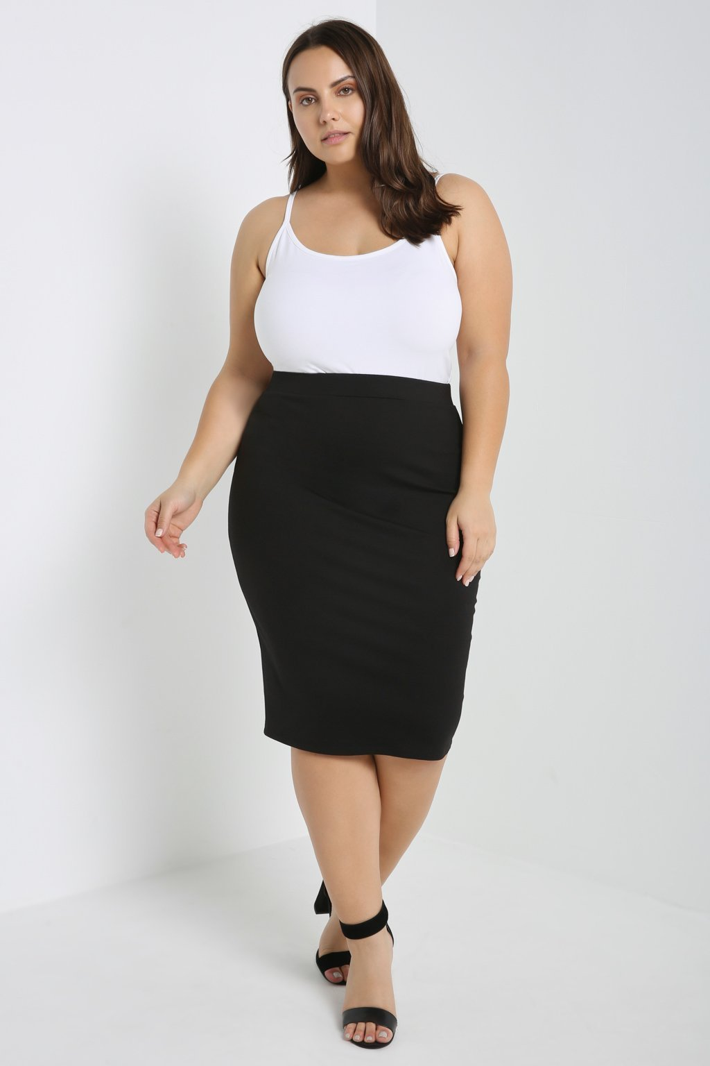 Poshsquare Plus Stretch-Knit Pencil Skirt Plus Size