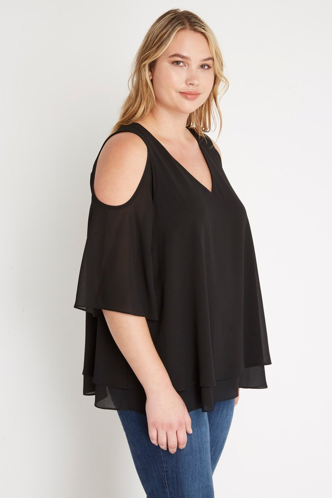 Poshsquare Plus Tour de Eiffel Chiffon Top Plus Size