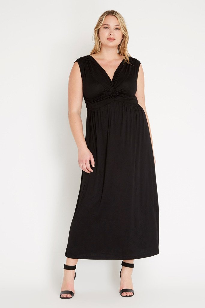 Poshsquare Plus XL / Black Ethereal Surplice Maxi Dress Plus Size