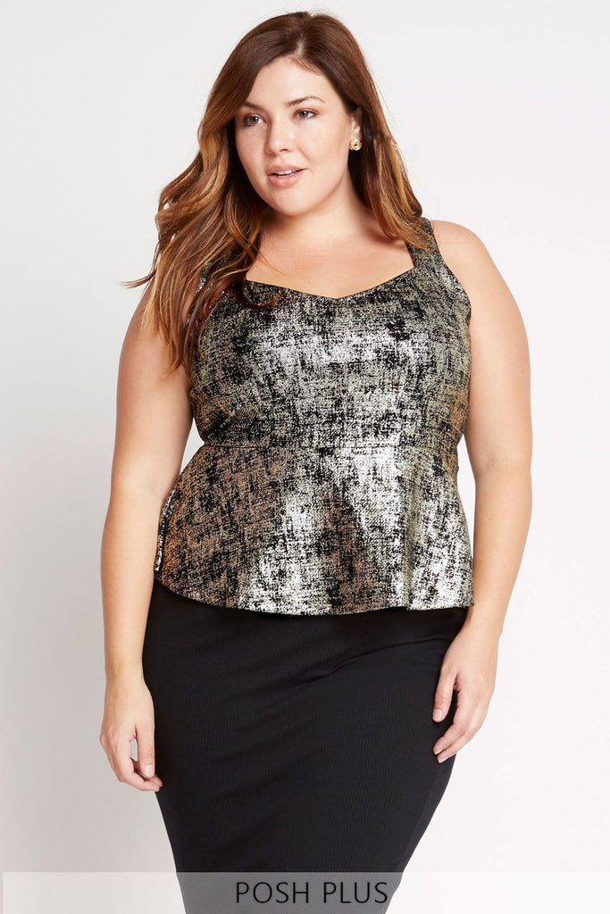 Poshsquare Plus XL / Black Metallic Foil Peplum Top Plus Size