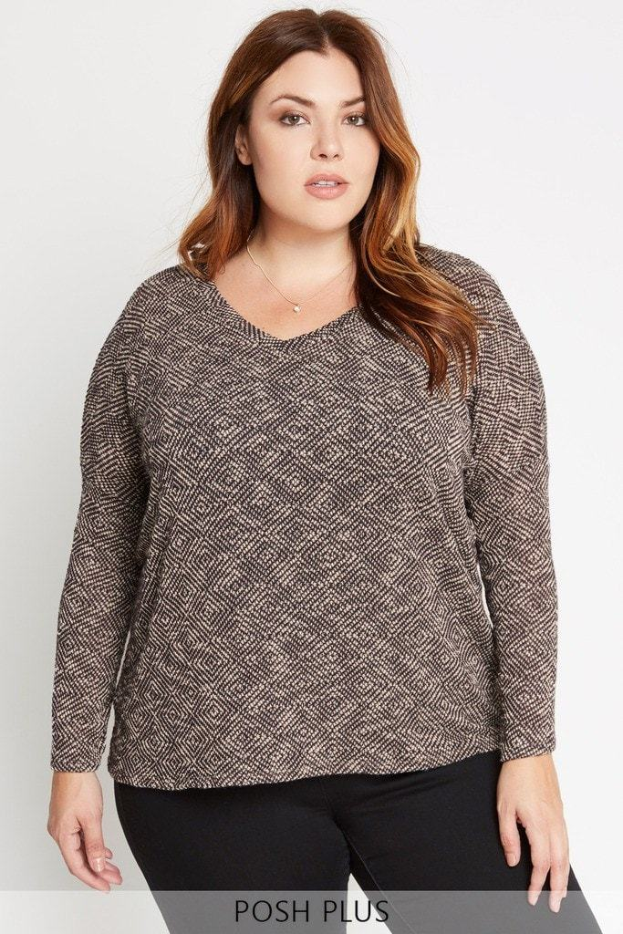 Poshsquare Plus XL / Brown Late Afternoon Dolman Knit Sweater Plus Size