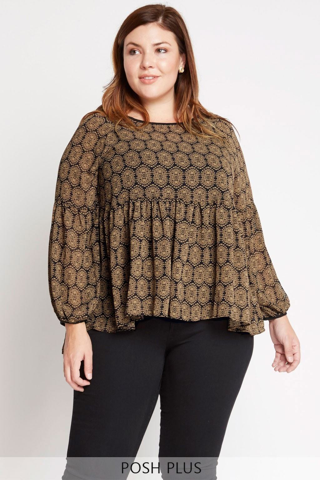 Poshsquare Plus XL / Brown Second Nature Printed Chiffon Peasant Top Plus Size