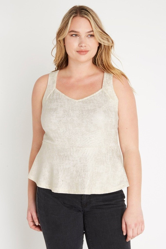 Poshsquare Plus XL / Cream Metallic Foil Peplum Top Plus Size