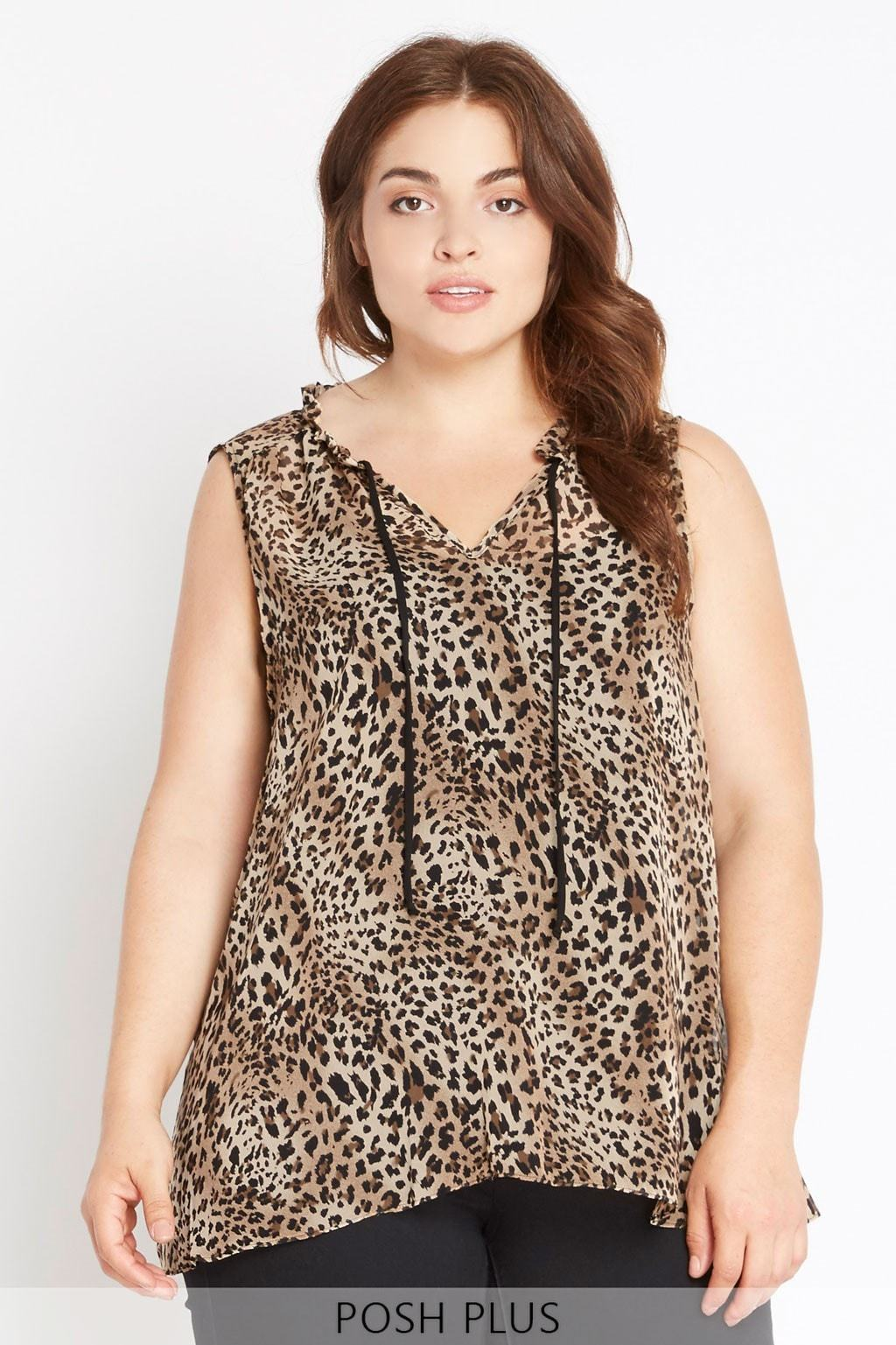 Poshsquare Plus XL / Leopard Animal Intuition Sheer Leopard Printed Top Plus Size