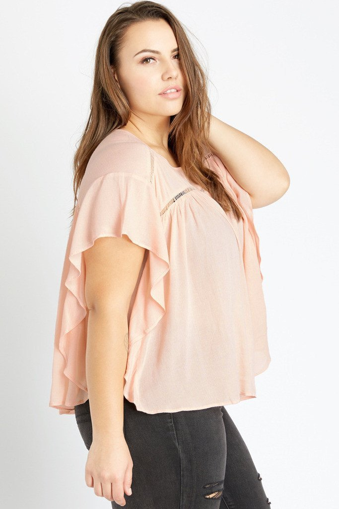 aee4336797ad8 Poshsquare Plus XL   Peach Poetic Charm Flutter Sleeved Peasant Top Plus  Size