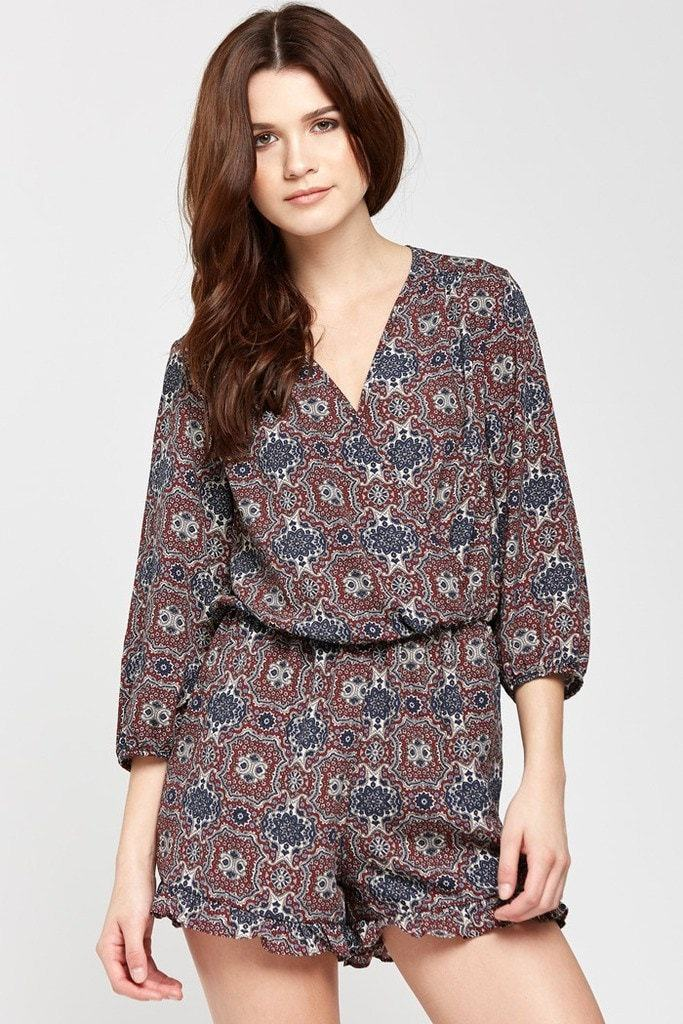 Poshsquare Romper Exotic Escape Deep-V Ruffled Hem Romper