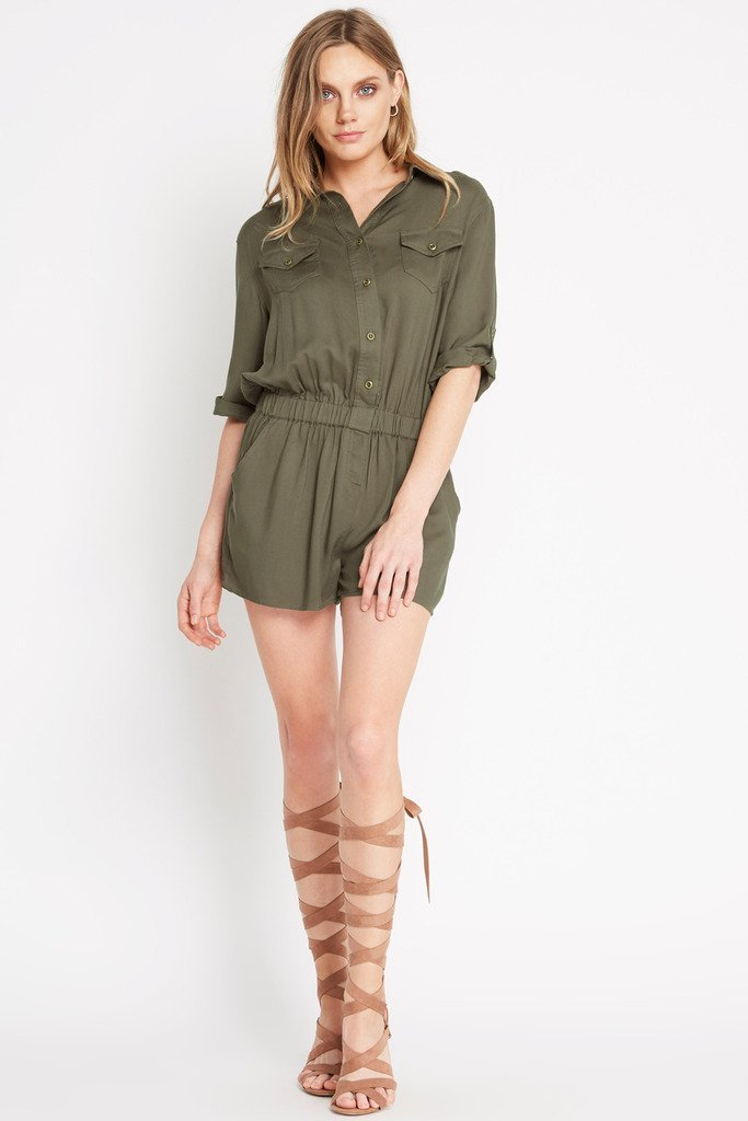 f6fb61dbd0d2 Poshsquare Romper M   Olive On The Move Button Down Romper