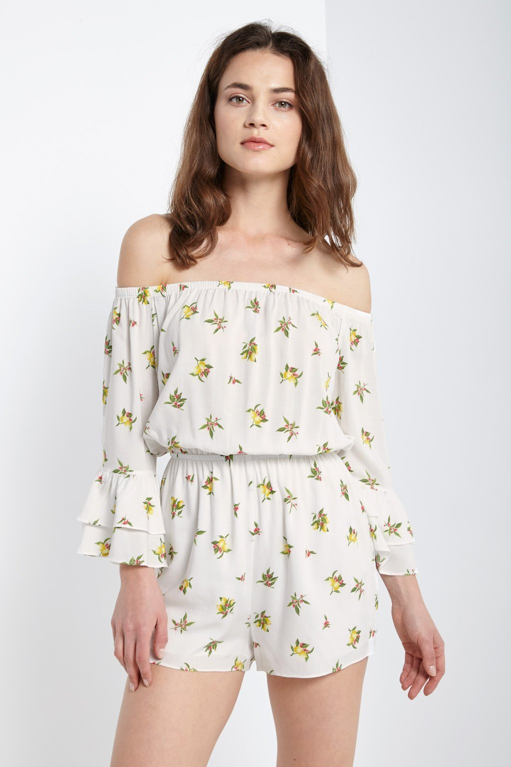 Poshsquare Romper Lemon Printed Off the Shoulder Romper