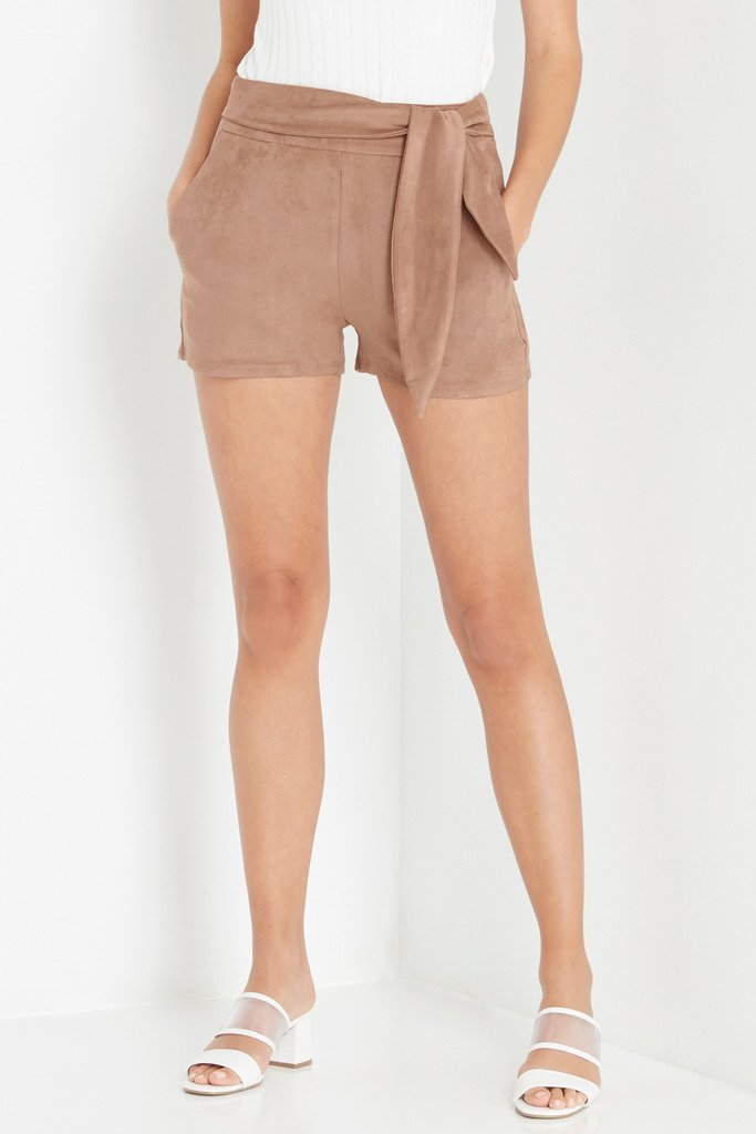 Poshsquare Shorts Alternate Reality Faux Suede Tie Shorts