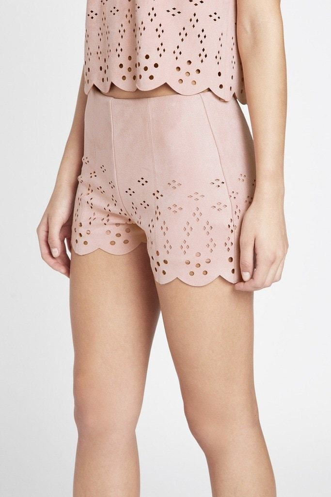 Poshsquare Shorts Artfully Chic Cutout Faux Suede Shorts