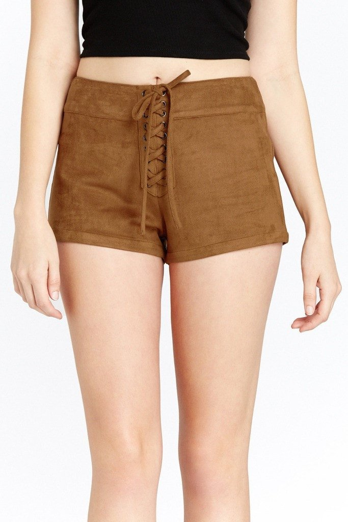 Poshsquare Shorts Felicity Lace Up Faux Suede Shorts