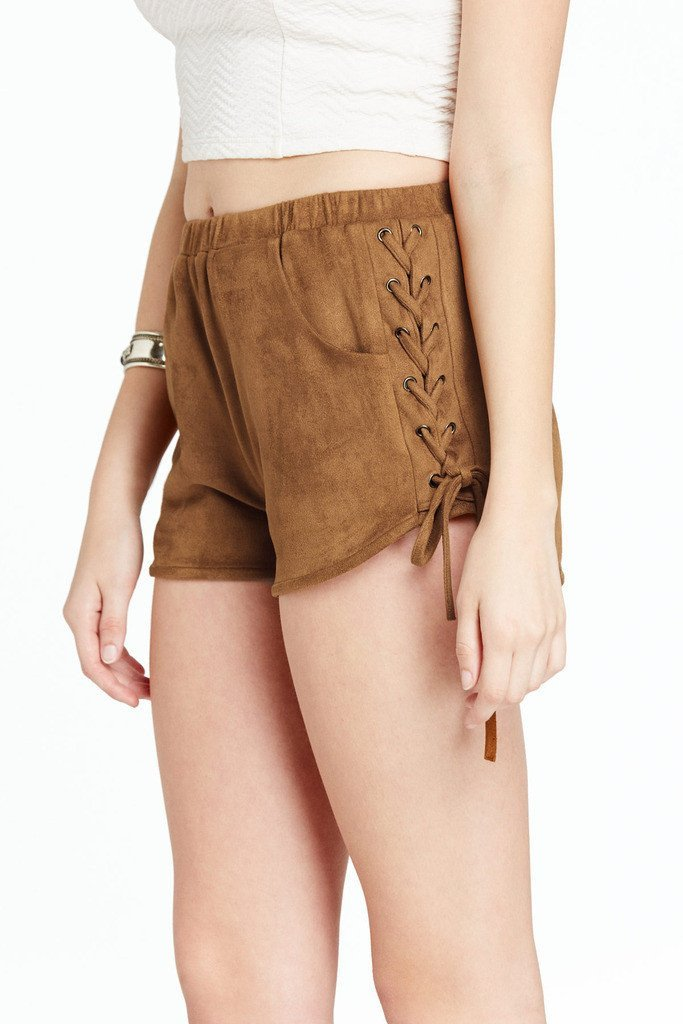 Poshsquare Shorts Harper Faux Suede Lace Up Side Shorts