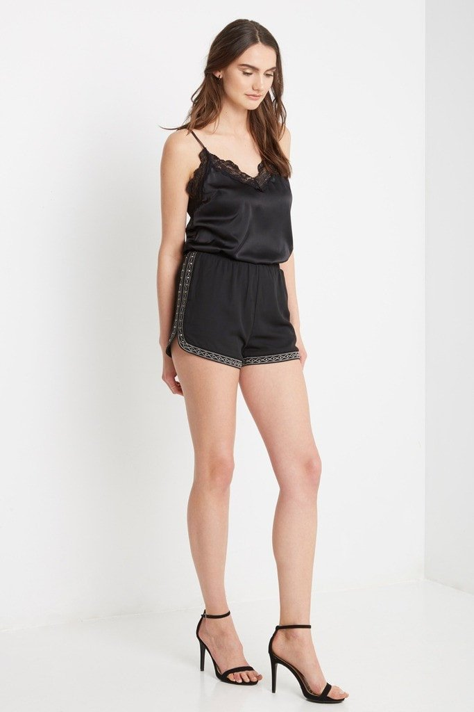 Poshsquare Shorts S / Black Ellory Chiffon Studded Shorts