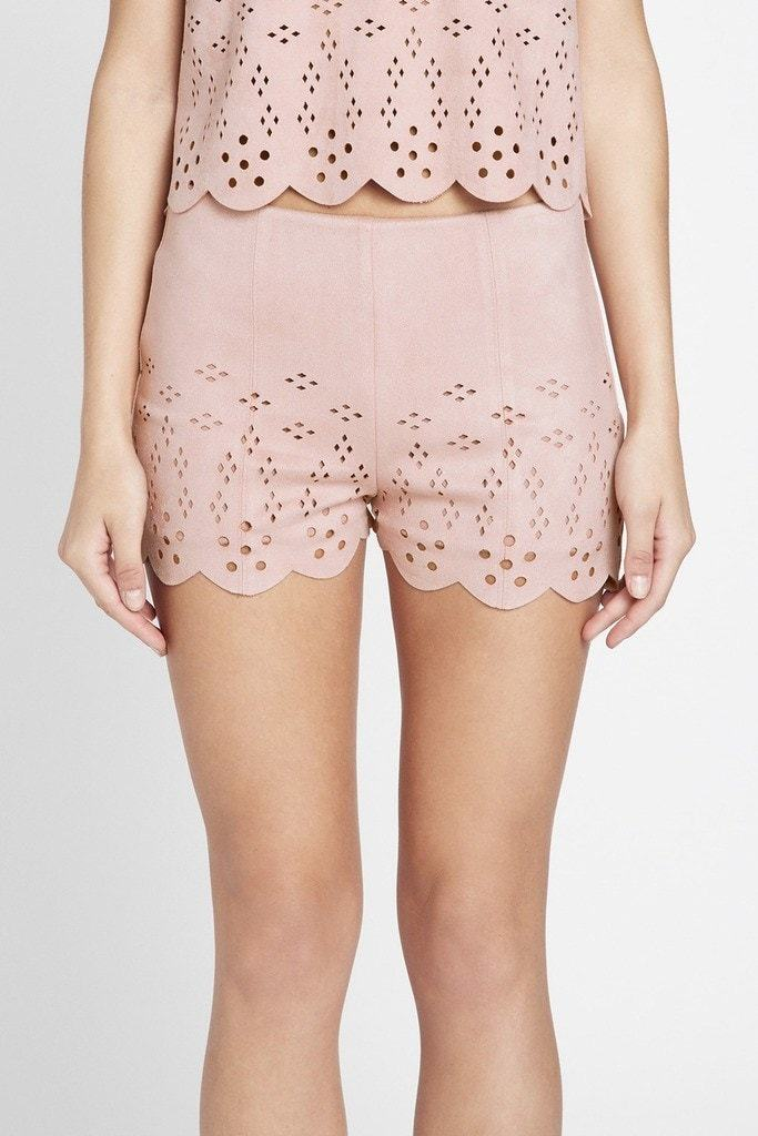 Poshsquare Shorts S / Blush Artfully Chic Cutout Faux Suede Shorts