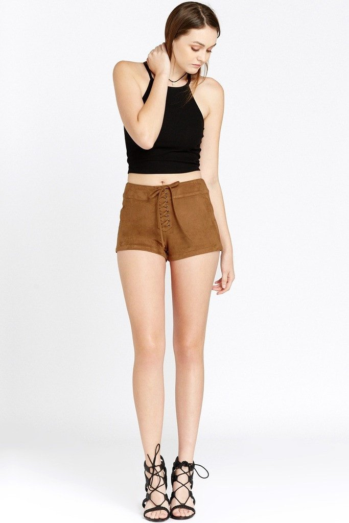 Poshsquare Shorts S / Brown Felicity Lace Up Faux Suede Shorts