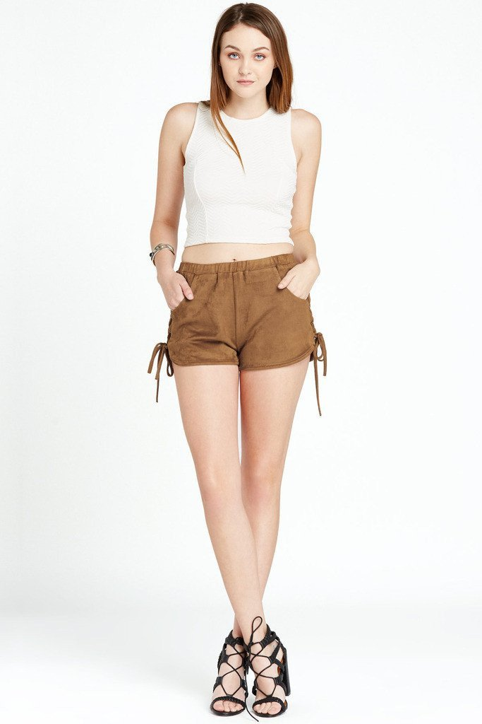 Poshsquare Shorts S / Brown Harper Faux Suede Lace Up Side Shorts
