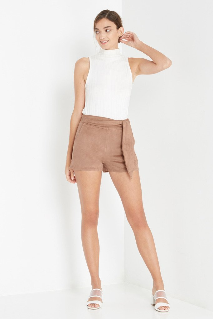Poshsquare Shorts XS / Tan Alternate Reality Faux Suede Tie Shorts