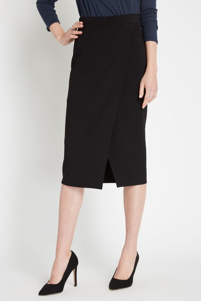 Poshsquare Skirts Black Executive Asymmetrical Midi Skirt