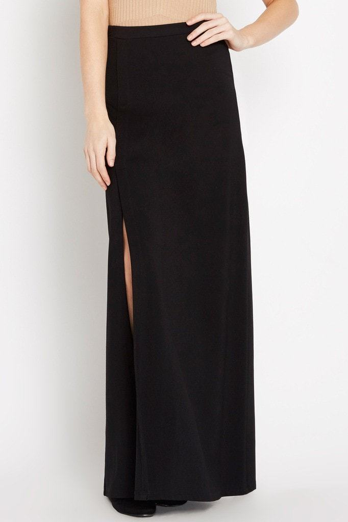 Poshsquare Skirts Black Take Flight Thigh-Slit Maxi Skirt