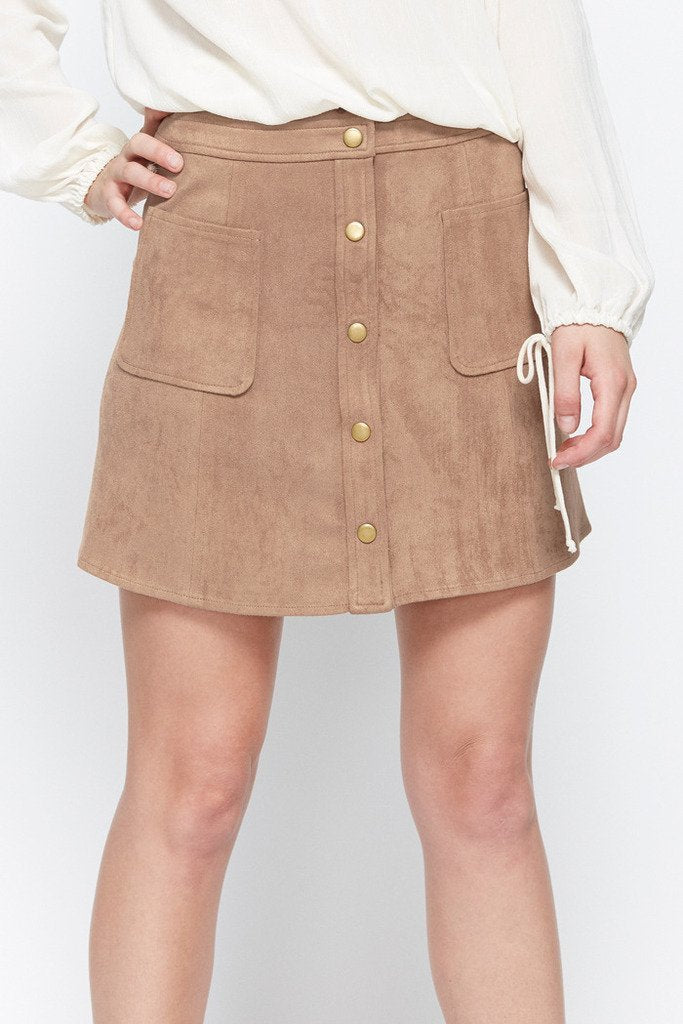Poshsquare Skirts Cool Factor Faux-Suede Pocket Skirt