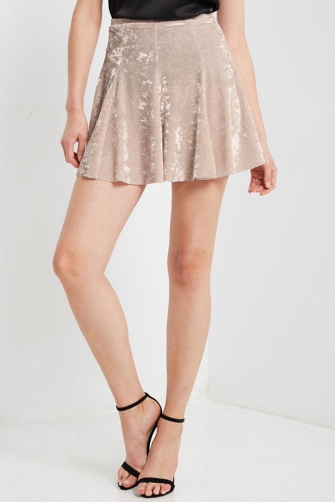 Poshsquare Skirts Crushed Velvet Mini Skirt