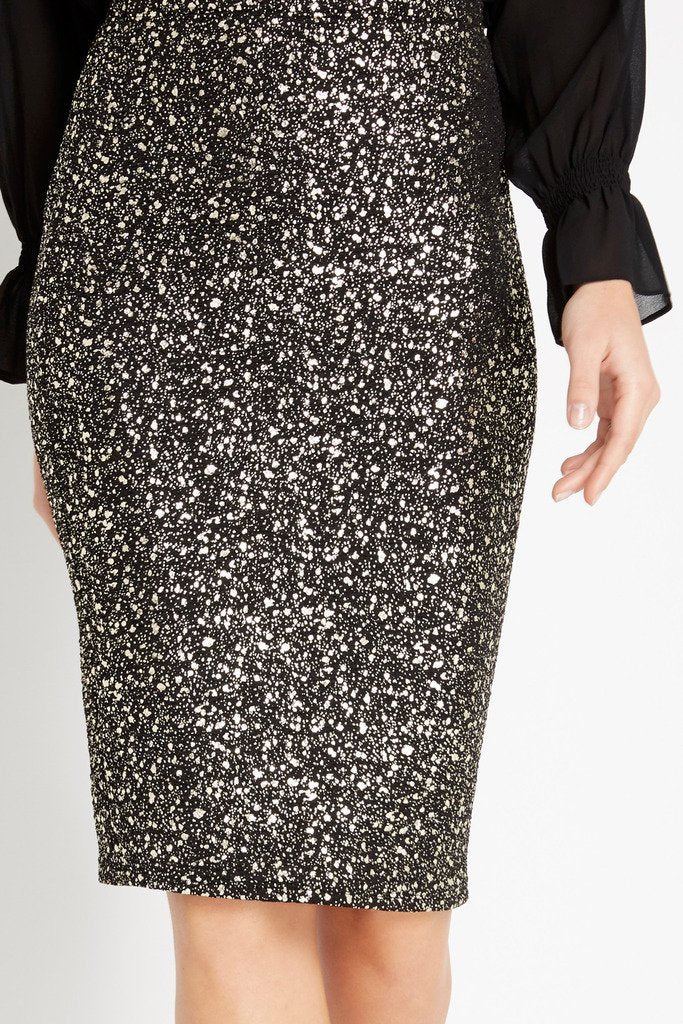 Poshsquare Skirts Flaunt and Center Metallic Midi Skirt