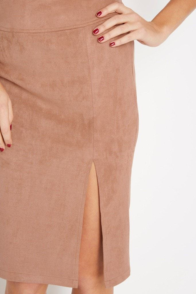 Poshsquare Skirts Hide Hopes Faux-Suede Pencil Skirt
