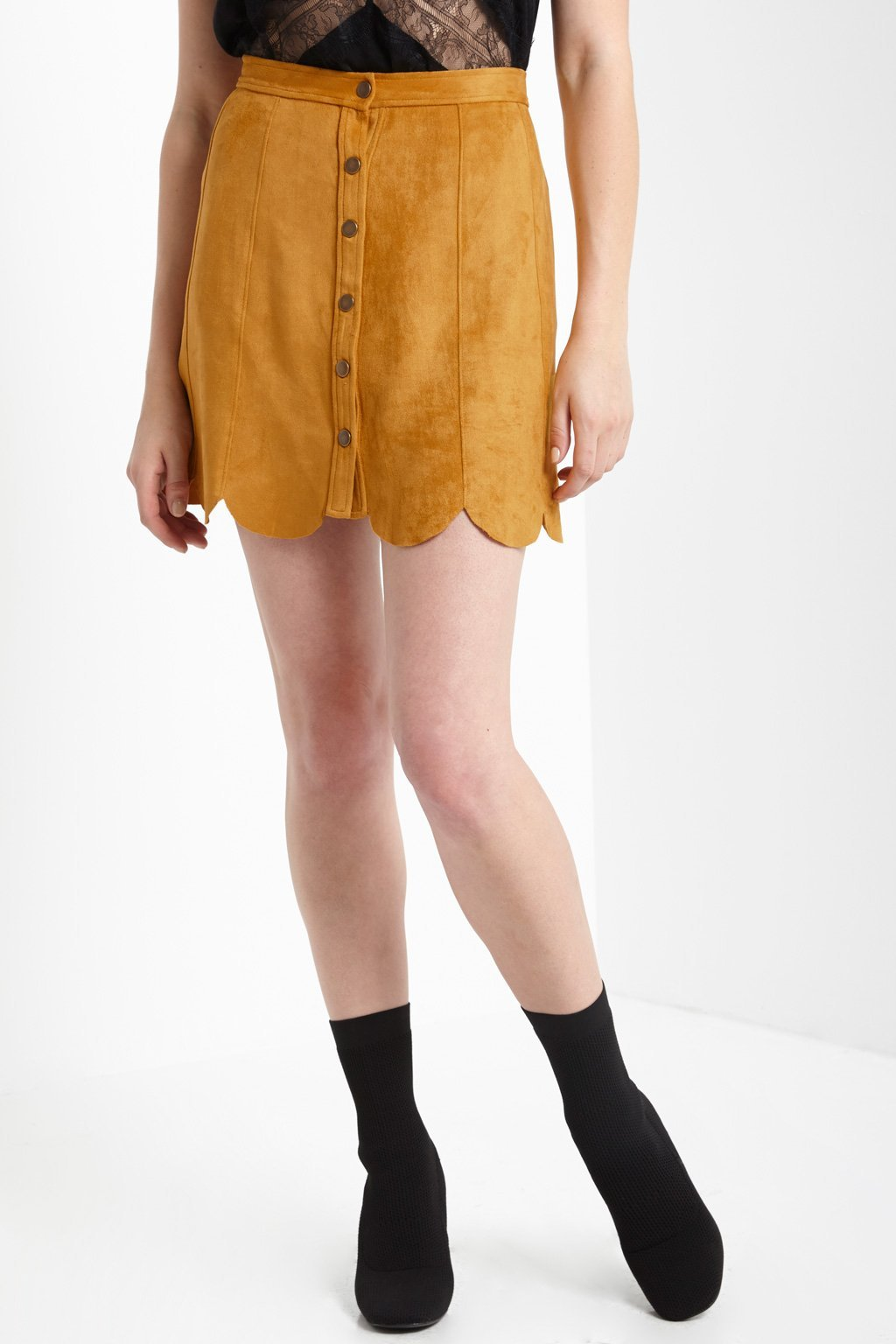 Poshsquare Skirts Lush Suede Scalloped Skirt