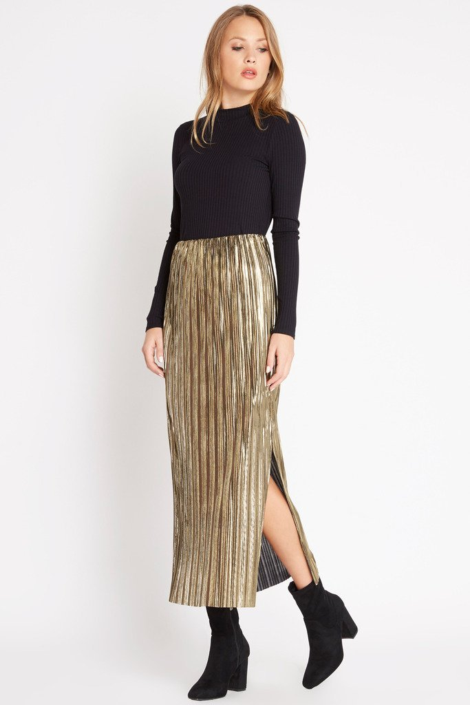 Poshsquare Skirts M / Gold Gold Rush Metallic Maxi Skirt