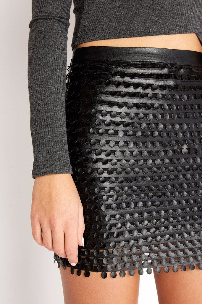 Poshsquare Skirts On the Dot Faux Leather Mini Skirt