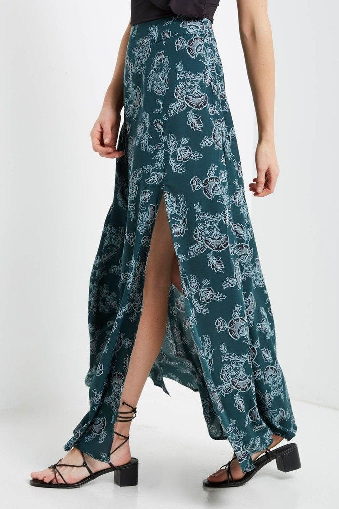 Poshsquare Skirts Oster Printed Side Slit Maxi Skirt