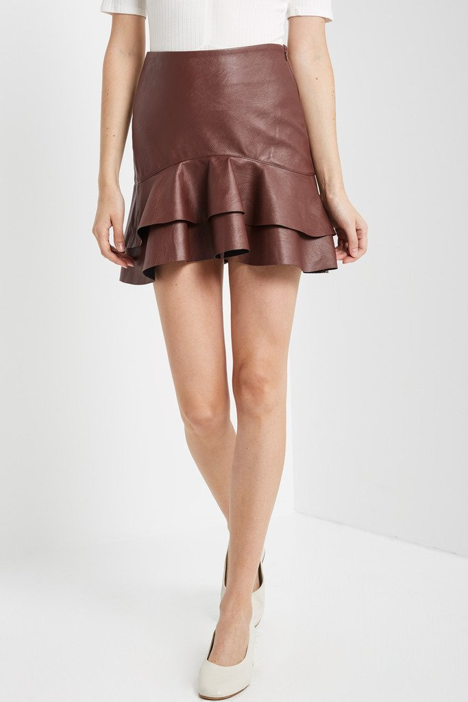 Poshsquare Skirts Rachel Ruffle Faux Leather Mini Skirt