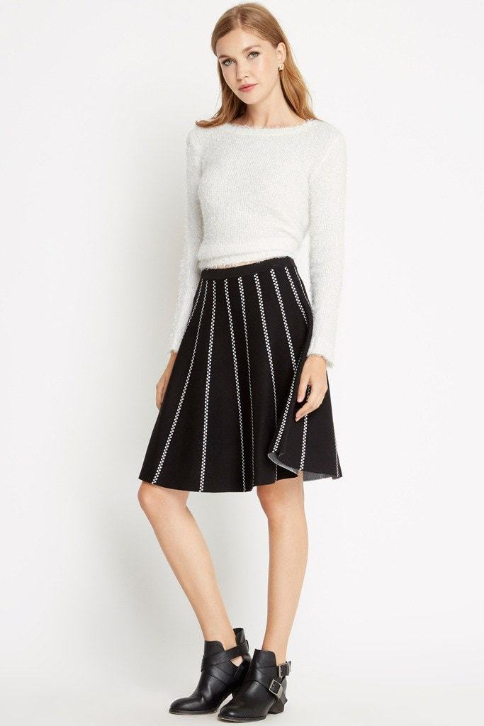 Poshsquare Skirts S / Black Paris At Night Sweater Skater Skirt