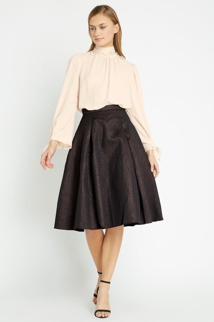 Poshsquare Skirts S / Black Peony Shimmer Midi Skirt